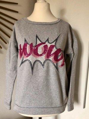 Hallhuber Sweatshirt grau mit pinkem Pailletten-Motiv WOW!, innen Fleece, Gr. S