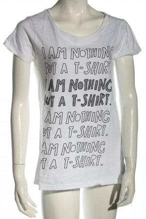 Hallhuber T-Shirt weiß-schwarz Schriftzug gedruckt Casual-Look