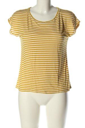 Hallhuber T-Shirt blassgelb-weiß Streifenmuster Casual-Look