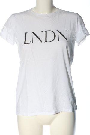 Hallhuber T-shirt bianco caratteri stampati stile casual