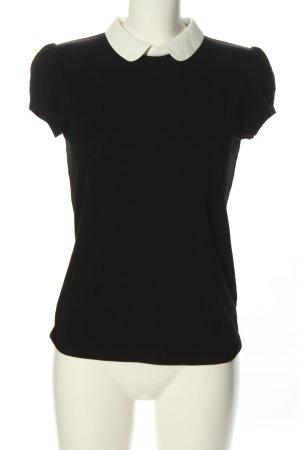 Hallhuber Kurzarm-Bluse schwarz-weiß Casual-Look