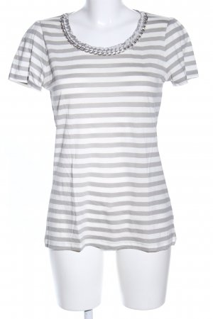 Hallhuber T-Shirt hellgrau-weiß Streifenmuster Casual-Look