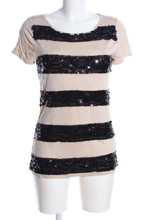 Hallhuber T-Shirt creme-schwarz Streifenmuster Casual-Look