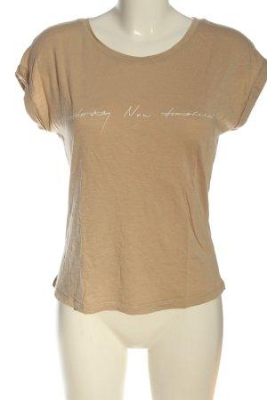 Hallhuber T-Shirt creme Schriftzug gedruckt Casual-Look