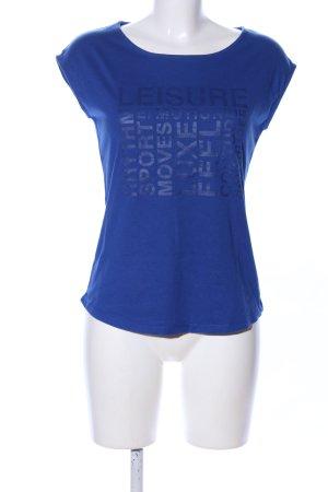 Hallhuber T-Shirt blau Schriftzug gedruckt Casual-Look