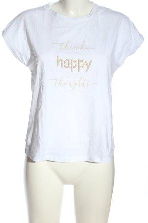 Hallhuber T-Shirt weiß-wollweiß Schriftzug gedruckt Casual-Look
