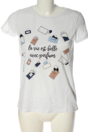 Hallhuber T-Shirt weiß Motivdruck Casual-Look