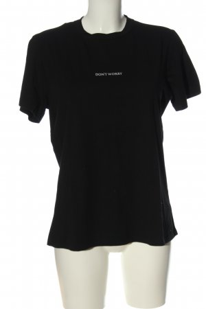 Hallhuber T-Shirt schwarz Schriftzug gedruckt Casual-Look