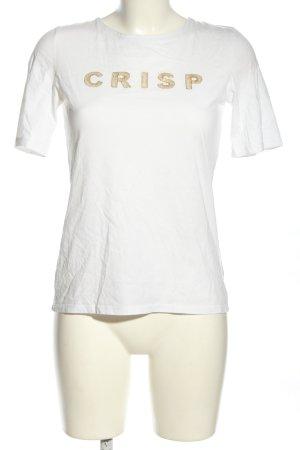 Hallhuber T-Shirt weiß Schriftzug gedruckt Casual-Look