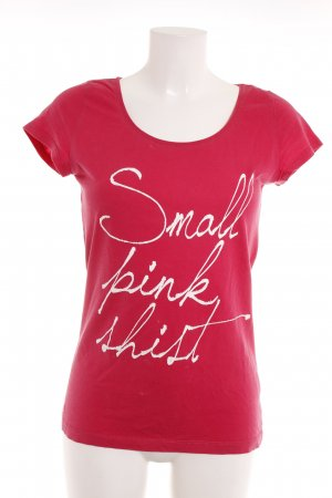 Hallhuber T-Shirt himbeerrot Motivdruck Casual-Look