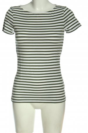 Hallhuber T-Shirt khaki-weiß Streifenmuster Casual-Look
