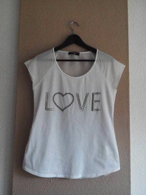 Hallhuber T-Shirt mit Schmucksteinen, Baumwolle und 30% Seide, Größe S
