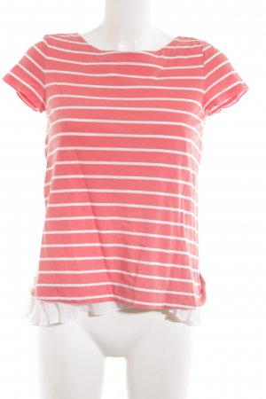 Hallhuber T-Shirt pink-weiß Streifenmuster Casual-Look