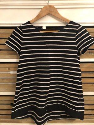 Hallhuber T-Shirt schwarz weiß Streifen gestreift Gr. XS / 34
