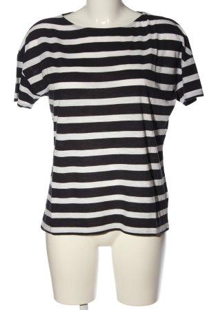 Hallhuber T-Shirt schwarz-weiß Streifenmuster Casual-Look