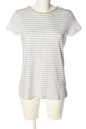 Hallhuber T-Shirt weiß-lila Streifenmuster Casual-Look