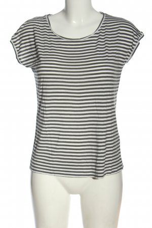 Hallhuber T-Shirt weiß-hellgrau Streifenmuster Casual-Look