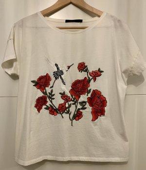 Hallhuber T-Shirt weiß mit Stickereiverzierung