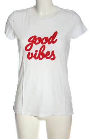 Hallhuber T-Shirt weiß-rot Casual-Look