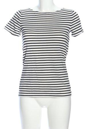 Hallhuber T-Shirt weiß-schwarz Streifenmuster Casual-Look
