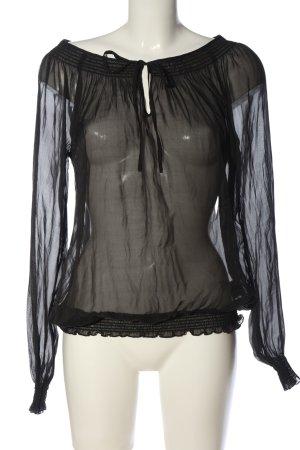 Hallhuber Transparenz-Bluse schwarz Casual-Look