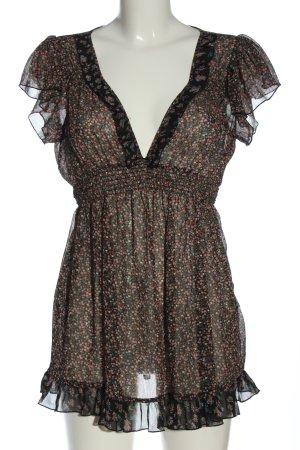 Hallhuber Transparent Blouse black-pink allover print elegant