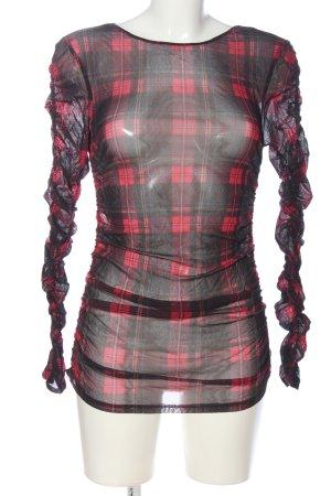 Hallhuber Transparenz-Bluse rot-schwarz Karomuster Elegant