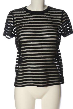 Hallhuber Transparenz-Bluse schwarz Streifenmuster Casual-Look