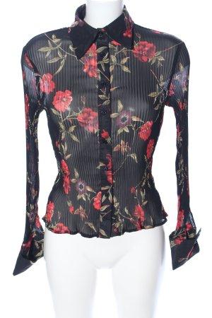 Hallhuber trend Crash-Bluse schwarz-rot Allover-Druck Elegant