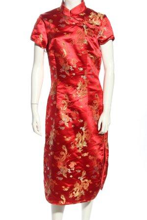 Hallhuber trend Qipao rojo-color oro estampado floral elegante