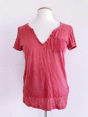 Hallhuber Tshirt, Kurzarm, V-Ausschnitt, Gr 38 / M, Baumwolle