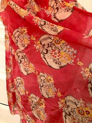 Hallhuber Tuch/Schal aus Seide, pink mit Totenköpfen
