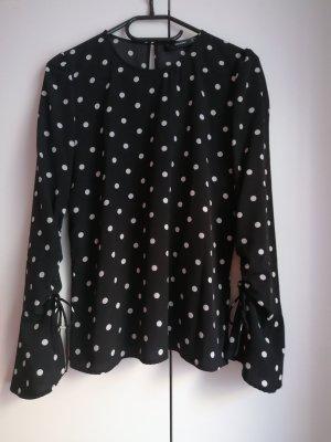 Hallhuber Blusa de túnica negro-blanco