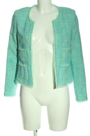 Hallhuber Blazer Tweed turquesa estampado a cuadros look casual