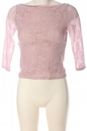 Hallhuber Spitzenbluse pink Webmuster Casual-Look