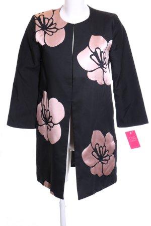 Hallhuber Übergangsmantel schwarz-pink Blumenmuster Casual-Look