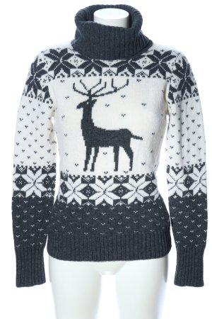 Hallhuber Weihnachtspullover weiß-hellgrau meliert Casual-Look