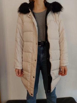 Hallhuber Abrigo acolchado negro-blanco puro