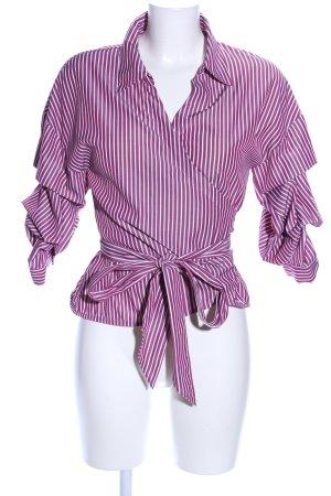 Hallhuber Wikkelblouse roze-wit gestreept patroon casual uitstraling