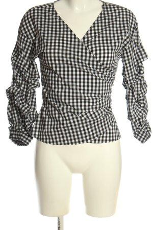 Hallhuber Kopertowa bluzka biały-czarny Na całej powierzchni W stylu casual