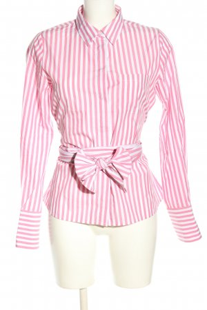 Hallhuber Camicetta aderente rosa-bianco motivo a righe stile casual