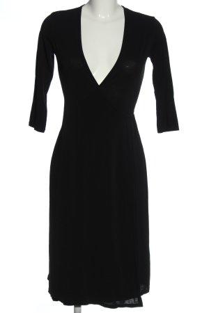 Hallhuber Robe portefeuille noir tissu mixte