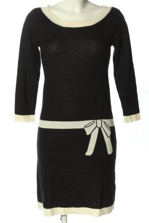 Hallhuber Wollkleid schwarz-wollweiß Motivdruck Casual-Look