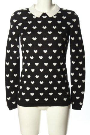 Hallhuber Pull en laine noir-blanc imprimé allover style décontracté
