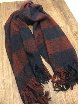 Hallhuber Bufanda de lana azul oscuro-burdeos