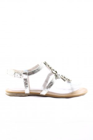 Hallhuber Toe-Post sandals silver-colored animal pattern casual look