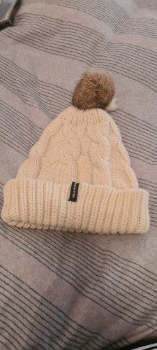 Hallhuber Sombrero de piel blanco puro tejido mezclado