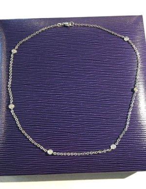 Halskette 14 Karat Weissgold mit Diamanten, Collier Im Tiffany Stil Weißgold Mit 6 Diamanten, 0,72ct. Np 2989€