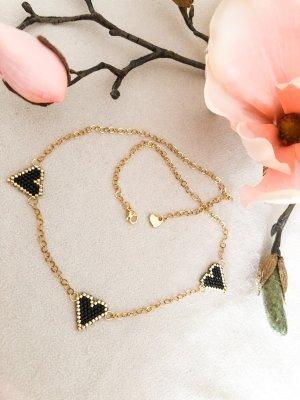 Collier de perles doré-noir