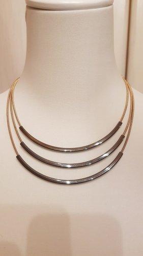 Halskette 3-reihig rosegold/graubraun Länge 45+6cm